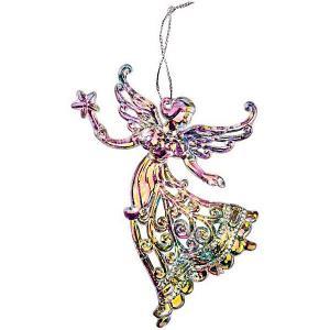 Ёл. укр. CLASSIC SILVER ангел со звездой  12х9 см, 1шт, акрил, серебро Marko Ferenzo