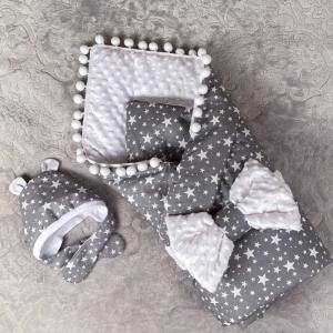 Конверт-одеяло Звезды с бантом и шапочкой (демисезон) СуперМаМкет