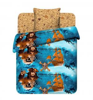 Комплект постельного белья  Пираты Карибского моря, цвет: синий/коричневый 3 предмета Василек
