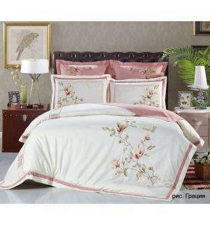 Комплект постельного белья  Евро/нав. 70х70 Грация, цвет: бежевый/розовый Василиса