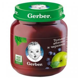 Пюре  яблоко-черника с 5 месяцев, 130 г Gerber