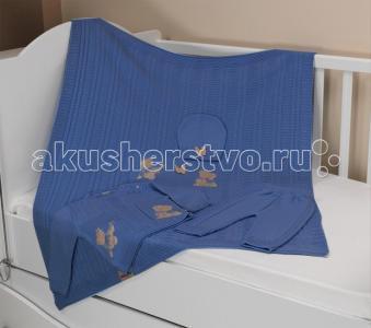 Комплект вязанный Мишка 86 см с пледом 120х95 Sansli