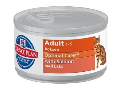 Влажный корм Hills Science Plan Optimal Care (Оптимальный уход) для взрослых кошек, лосось, 85г Hill's