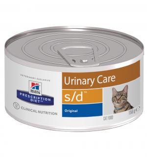 Влажный диетический корм Hills Prescription Diet для взрослых кошек s/d при мочекаменной болезни, печень, 156г Hill's