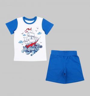 Пижама  Sea Travel, цвет: белый/синий Leader Kids