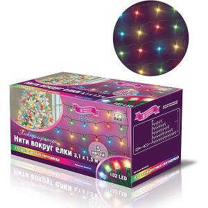 Новогодняя электрогирлянда Нити 102 цветных светодиода, 5 нитей B&H