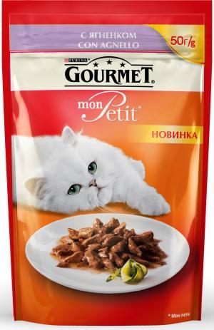 Корм влажный  Mon Petit для взрослых кошек, ягненок, 50г Gourmet