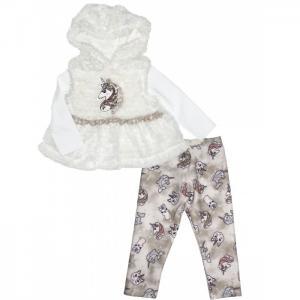 Комплект для девочки жилет, лонгслив и леггинсы Baby Rose