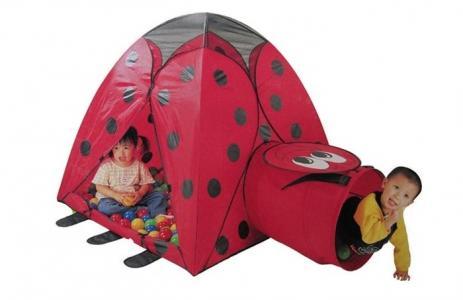 Палатка-домик с туннелем + 100 шаров Божья коровка Calida