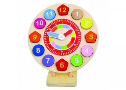 Деревянная игрушка  Пазл-вкладыш Часы Bino