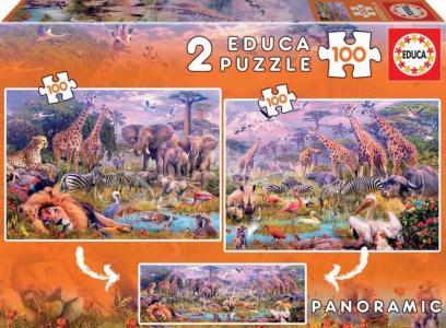 Пазл Дикие животные 2 в 1 (200 деталей) Educa
