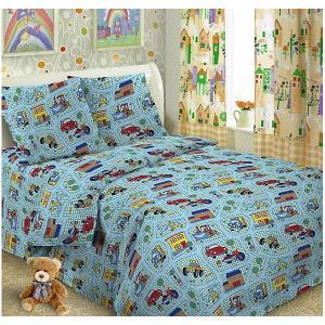Детское постельное белье 3 предмета , простыня на резинке, BGR-32 Letto. Цвет: голубой