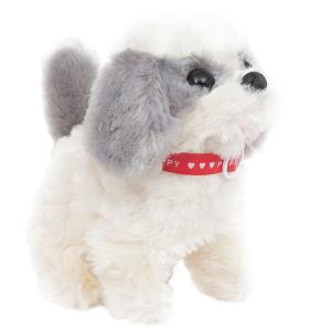 Интерактивная мягкая игрушка  Собачка 17 см цвет: белый/серый S+S Toys