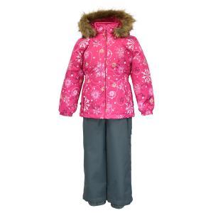 Комплект куртка/полукомбинезон  Wonder, цвет: фуксия/серый Huppa