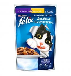 Влажный корм  Аппетитные кусочки для взрослых кошек Двойная вкуснятина, ягненок/курица, 85г Felix