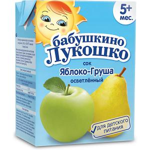 Сок  яблоко груша осветлённый, с 5 мес, 200 мл х 18 шт Бабушкино Лукошко