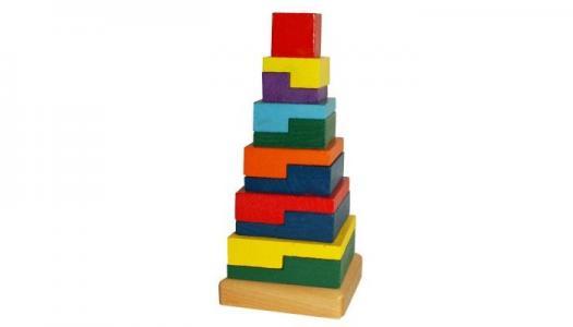 Деревянная игрушка  Пирамида Квадраты QiQu Wooden Toy Factory