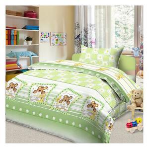 Детское постельное белье 3 предмета , простыня на резинке, BGR-84 Letto. Цвет: зеленый
