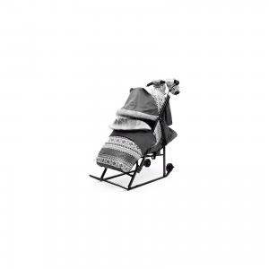 Санки-коляска  Скандинавия 2УВ, черная рама, серый ABC Academy