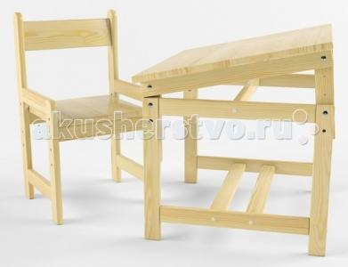 Растущий набор (стол-парта, стул) деревянный покрыт лаком Русские игрушки