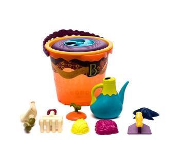 B.Summer Большое ведерко и игровой набор для песка оранжевый 11 деталей Battat