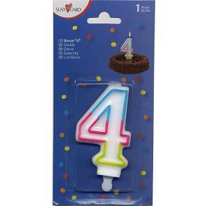 Свеча-цифра для торта  4 7,5 см., радужная Susy Card