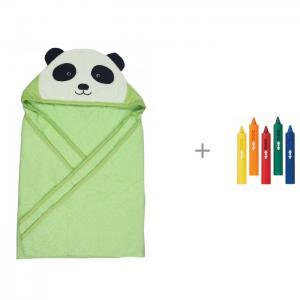 Полотенце с капюшоном Панда 100х100 см и Игрушка для ванны Munchkin Карандаши Forest