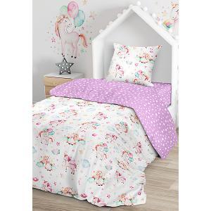 Комплект постельного белья  Единорожки, 1,5-спальное Juno. Цвет: разноцветный