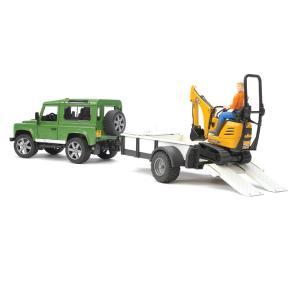 Внедорожник Land Rover Defender c прицепом-платформой и экскаватором Bruder