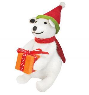 Фигурка  Мишка с подарком 13 см Новогодняя сказка