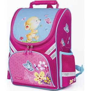 Ранец  Мишка с бабочкой, розовый Пифагор. Цвет: розовый