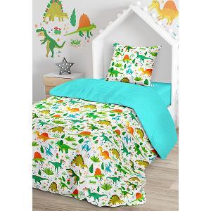 Комплект постельного белья  Дино, 1,5-спальное Juno. Цвет: зеленый