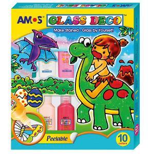 Набор  витражных красок , 10 цветов Amos
