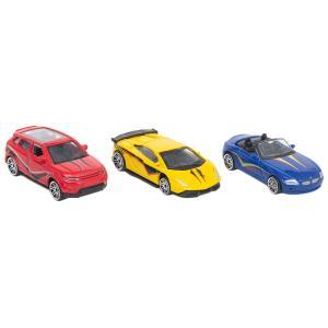 Набор машинок  синяя, желтая и красная Технопарк