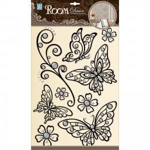 Наклейка Бабочки (металик) POA5803, , черный Room Decor