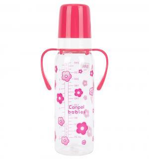 Бутылочка  С ручками пластик рождения, 250 мл, цвет: розовый Canpol