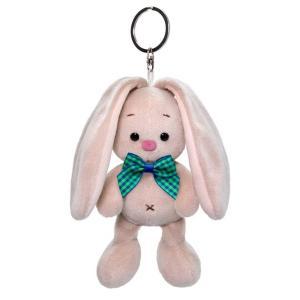 Мягкая игрушка  Зайка Ми с голубым бантиком 14 см цвет: серый/розовый Budi Basa