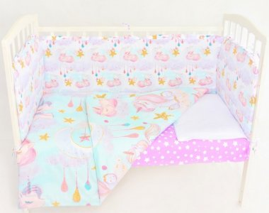 Комплект в кроватку  Единорока на облачке (6 предметов) Сонная сказка