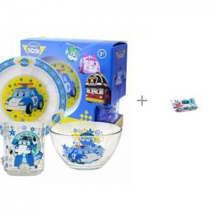Набор стеклянной посуды Робокар Поли и Влажные салфетки Aura 120 шт. ND Play