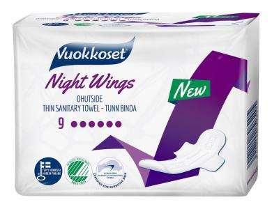 Прокладки  Night Wings ночные с крылышками, 9 шт Vuokkoset