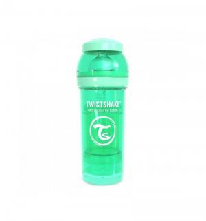 Бутылочка  для кормления антиколиковая пластик с рождения, 260 мл, цвет: зеленый Twistshake