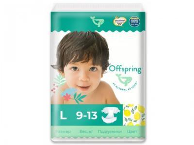 Эко-подгузники Лимоны размер L (9-13 кг) 36 шт. Offspring