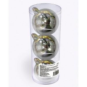 Набор елочных шаров  3 шт, 9 см., серебряные B&H. Цвет: разноцветный