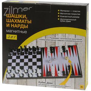 Набор настольных игр , магнитные шахматы, шашки, нарды Zilmer