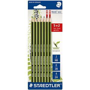 Набор чернографитовых карандашей Noris eco, 7 шт.: 5 шт. - HB, 1 2B, 2H, Staedtler
