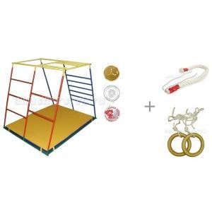 Детский спортивный комплекс Люкс базовая комплектация с канатом и кольцами Kidwood Ранний старт