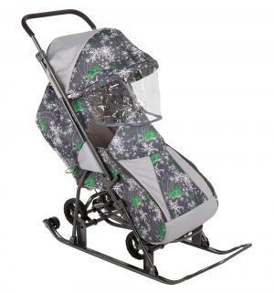 Санки-коляска  Снежинка Универсал, цвет: елки на сером Galaxy