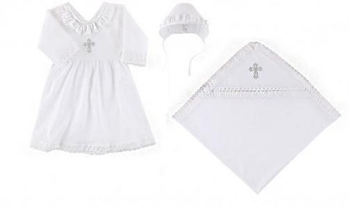 Крестильный набор для девочки (пеленка, платье, чепчик) Наша Мама