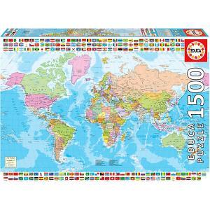 Пазл 1500 деталей Политическая карта мира Educa