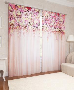 Фотошторы Ламбрекен из цветов Сирень